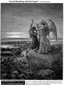 Jacob Wrestling with the Angel, Gustave Dore 1865